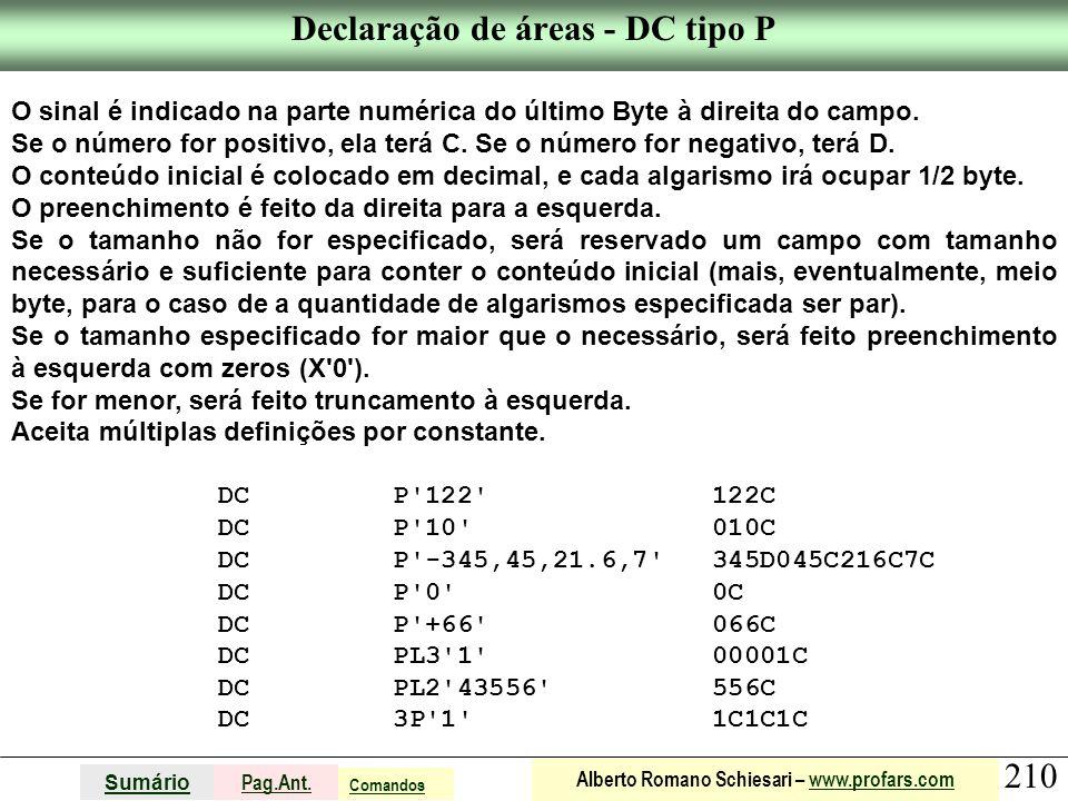 Declaração de áreas - DC tipo P