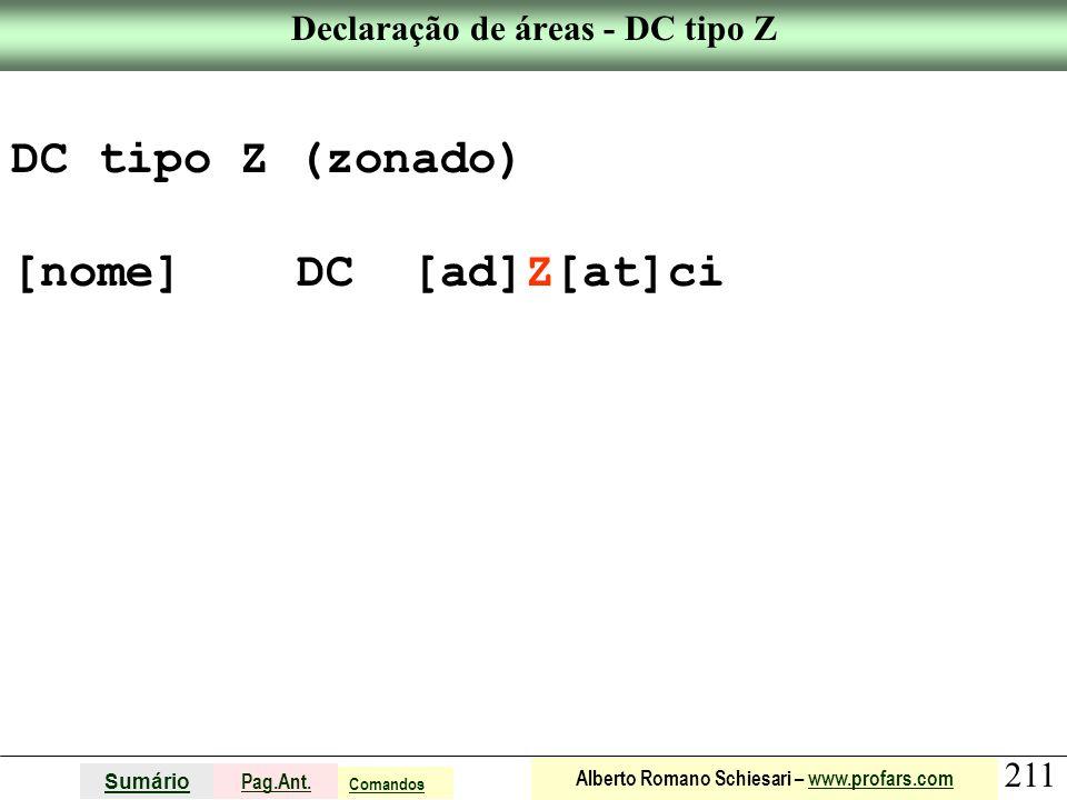 Declaração de áreas - DC tipo Z