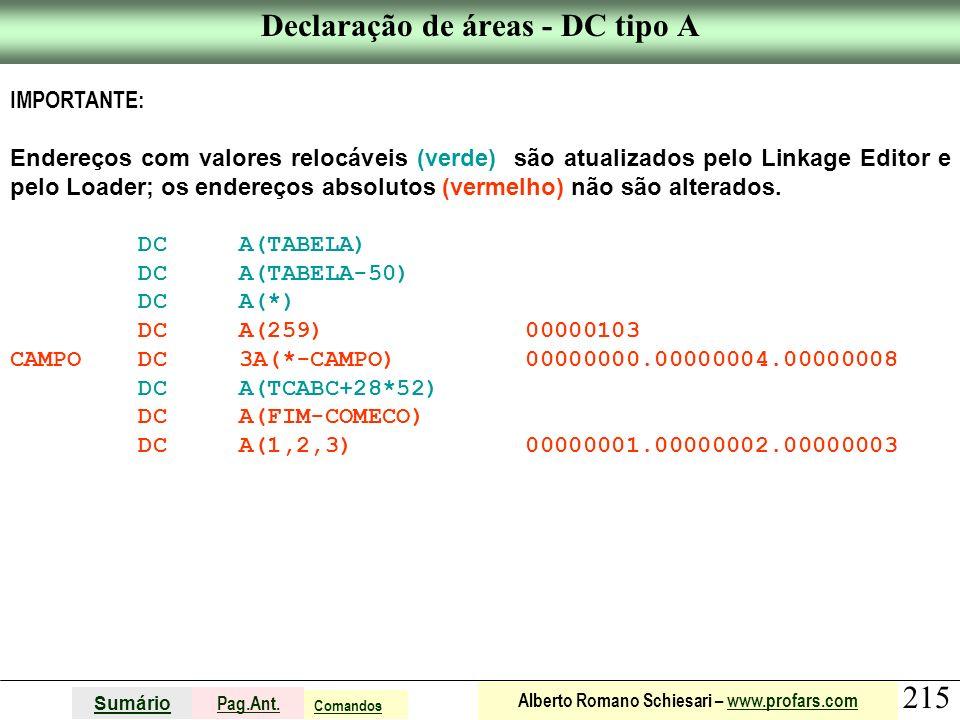 Declaração de áreas - DC tipo A