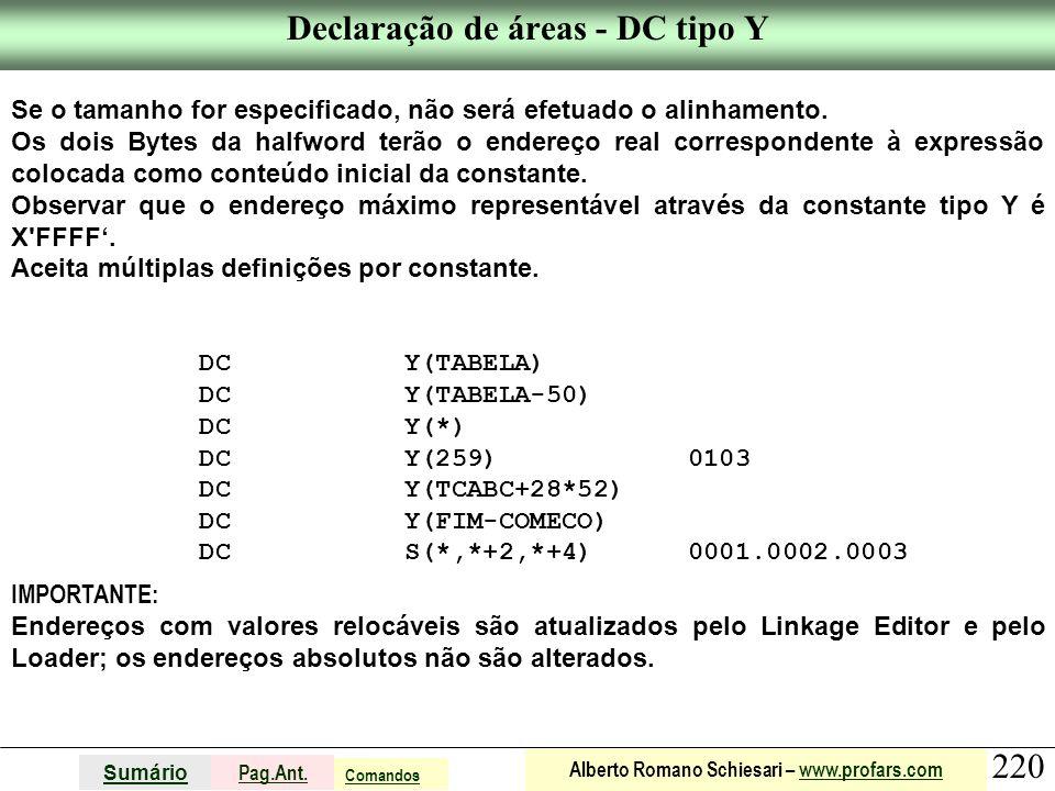 Declaração de áreas - DC tipo Y