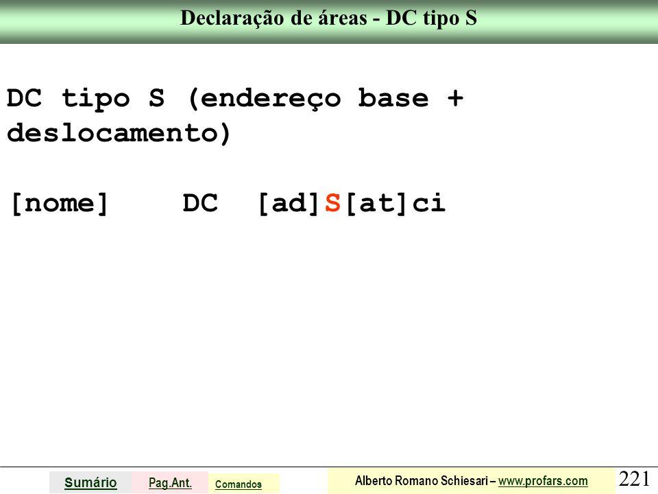 Declaração de áreas - DC tipo S