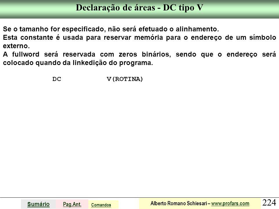 Declaração de áreas - DC tipo V