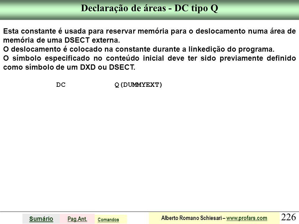 Declaração de áreas - DC tipo Q