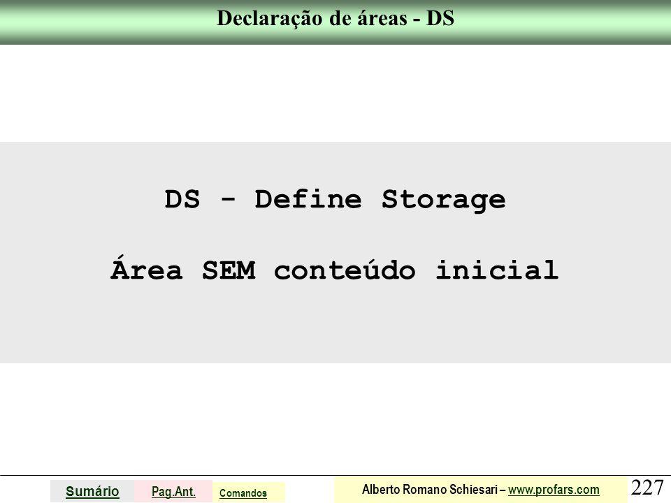 Declaração de áreas - DS