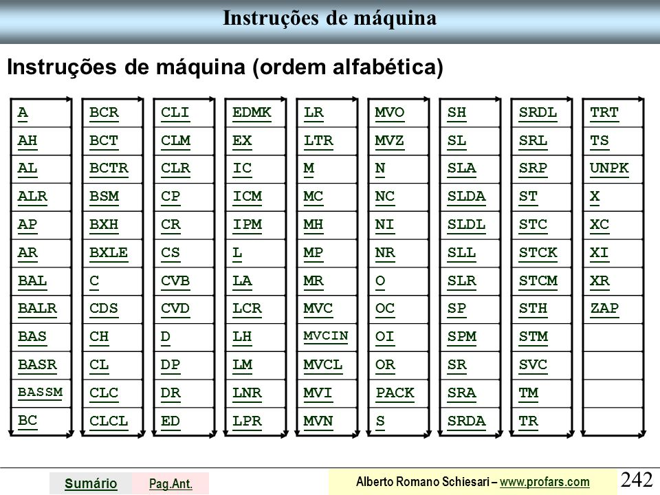 Instruções de máquina (ordem alfabética)