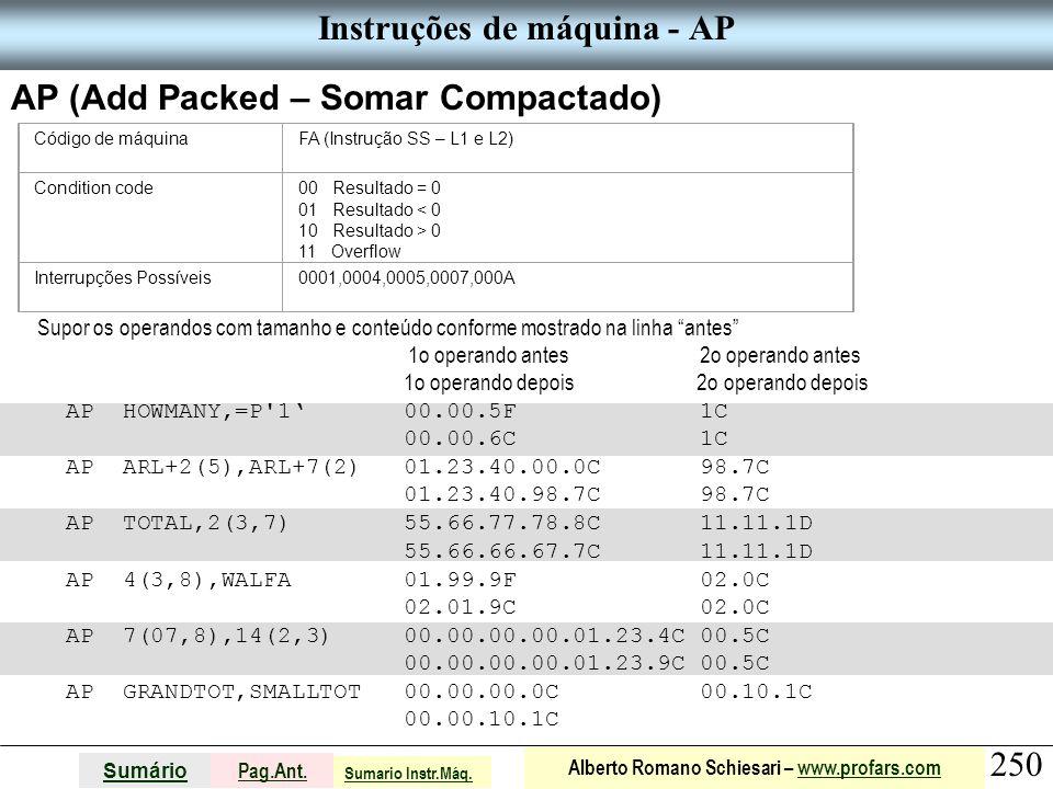 Instruções de máquina - AP
