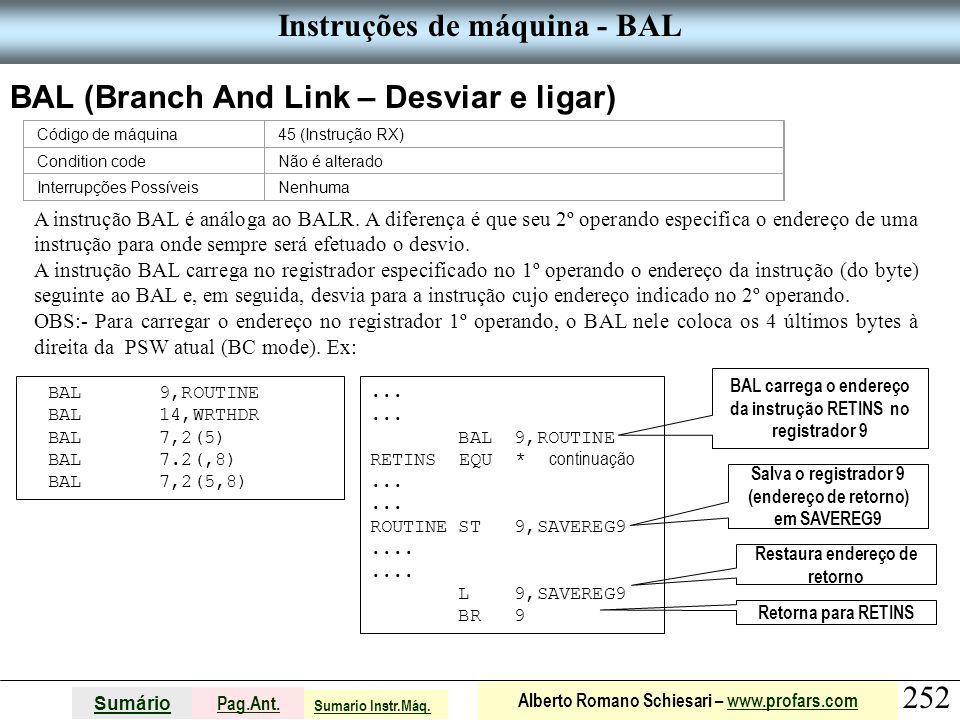 Instruções de máquina - BAL