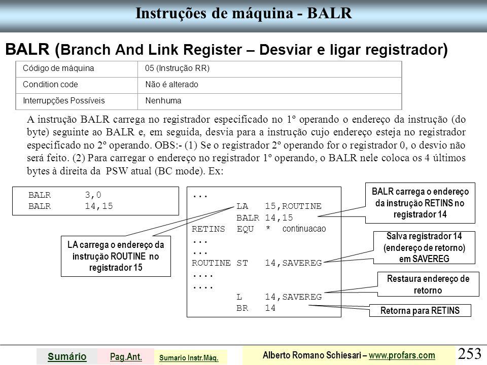 Instruções de máquina - BALR