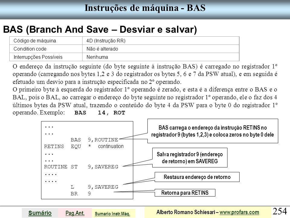 Instruções de máquina - BAS