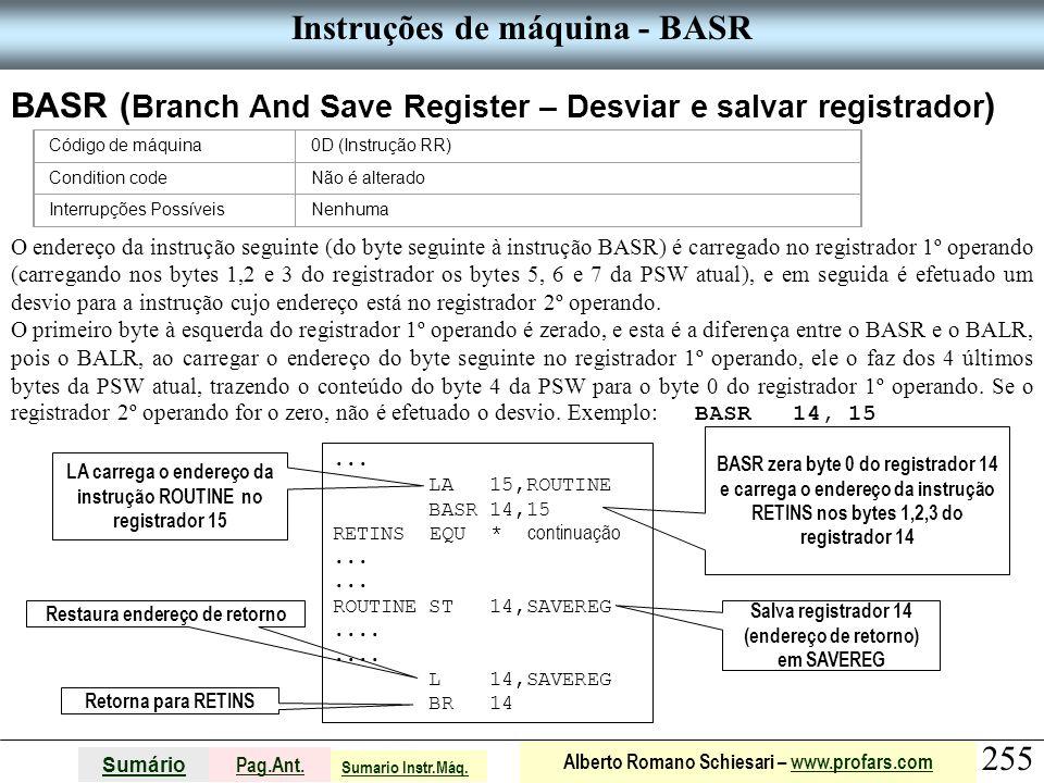 Instruções de máquina - BASR
