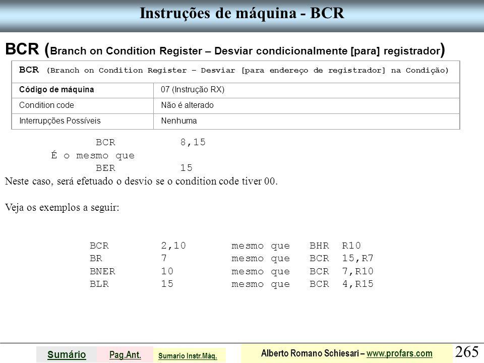 Instruções de máquina - BCR