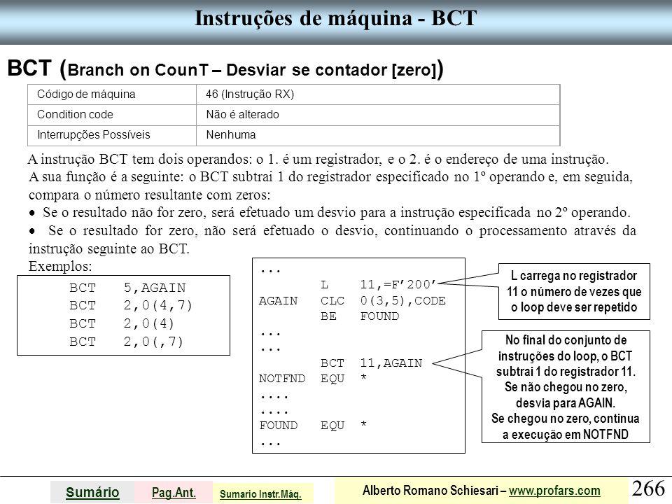 Instruções de máquina - BCT