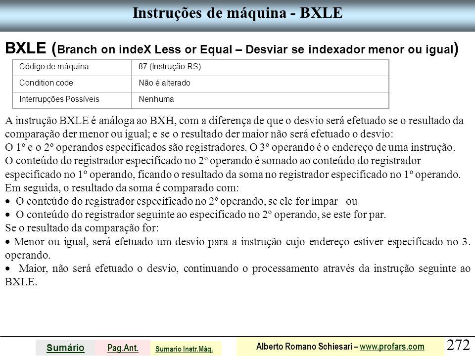 Instruções de máquina - BXLE