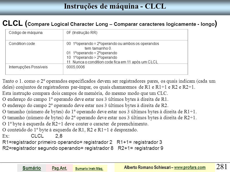 Instruções de máquina - CLCL