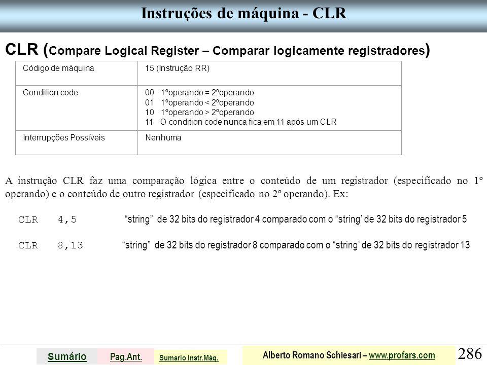 Instruções de máquina - CLR