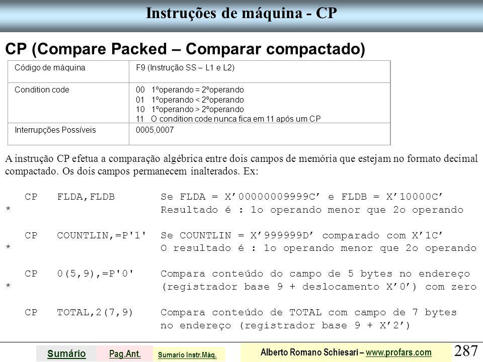 Instruções de máquina - CP