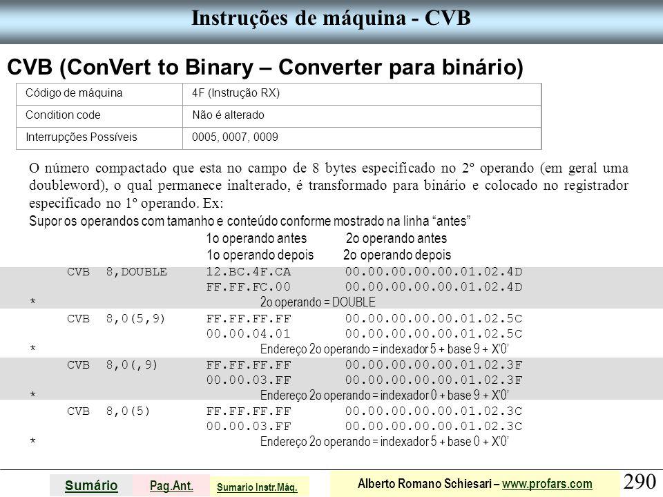 Instruções de máquina - CVB
