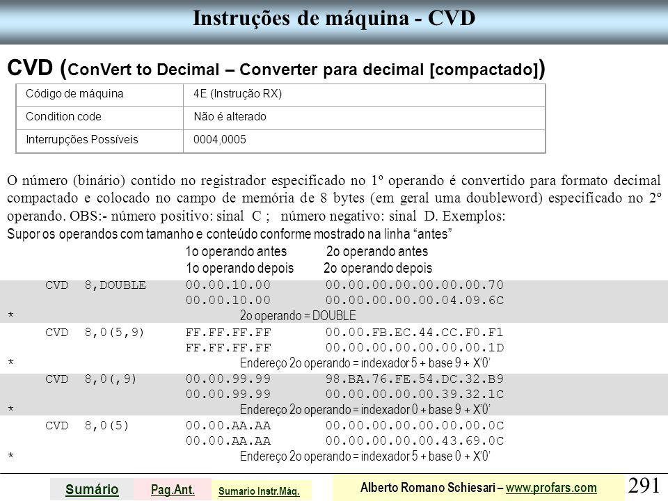 Instruções de máquina - CVD