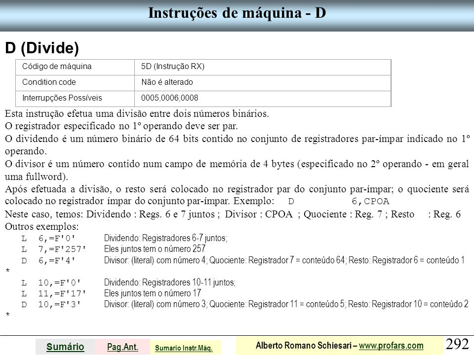 Instruções de máquina - D