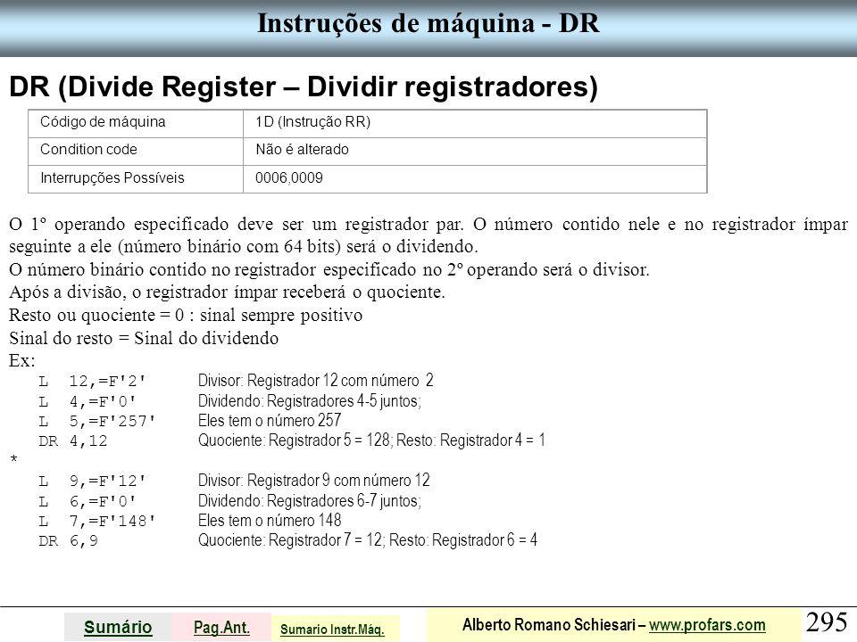 Instruções de máquina - DR