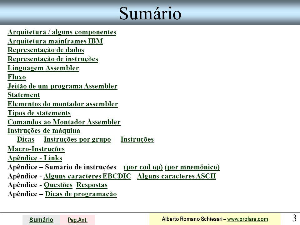 Sumário Arquitetura / alguns componentes Arquitetura mainframes IBM