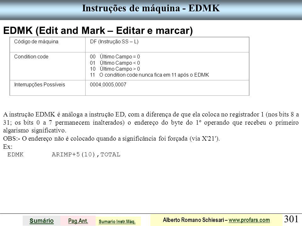 Instruções de máquina - EDMK