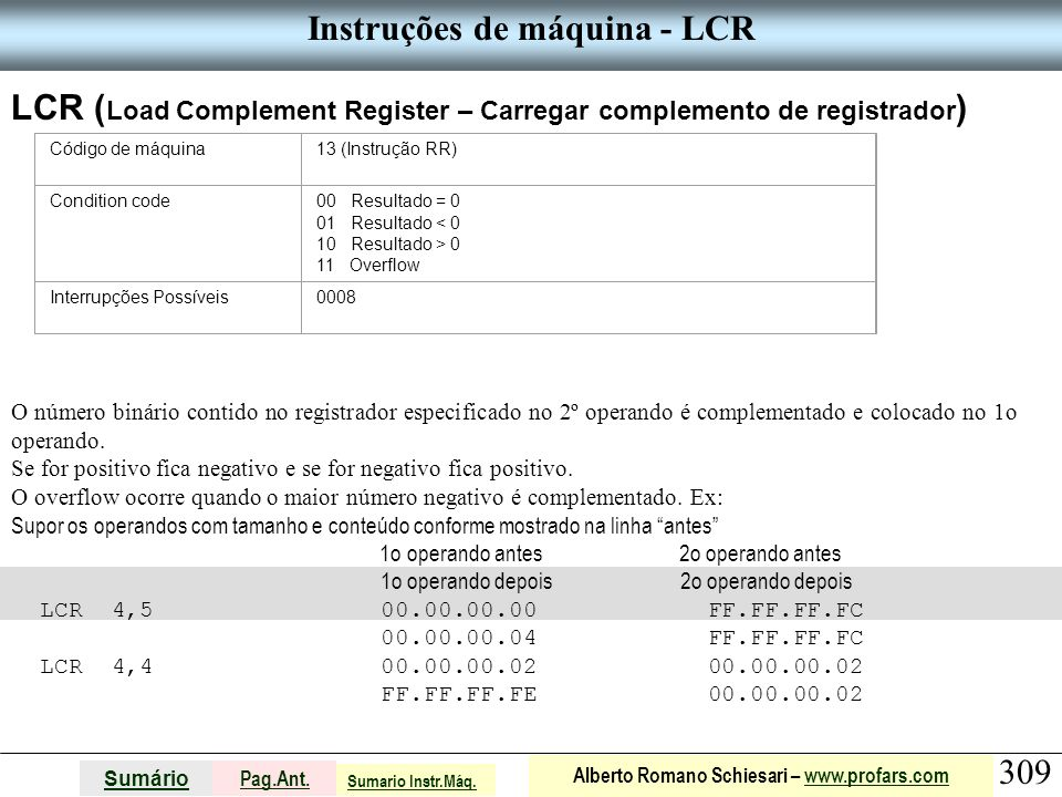 Instruções de máquina - LCR