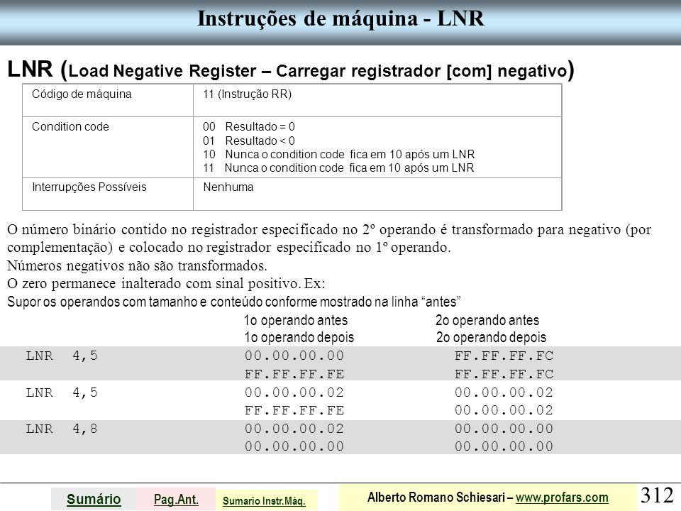 Instruções de máquina - LNR