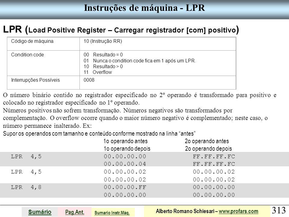 Instruções de máquina - LPR