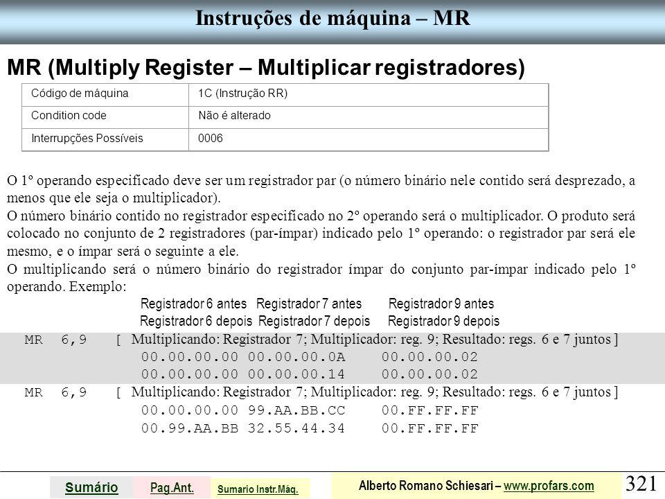 Instruções de máquina – MR