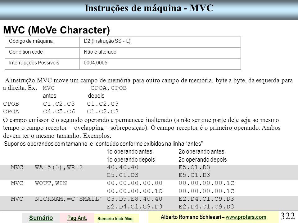 Instruções de máquina - MVC
