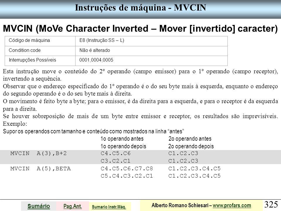 Instruções de máquina - MVCIN
