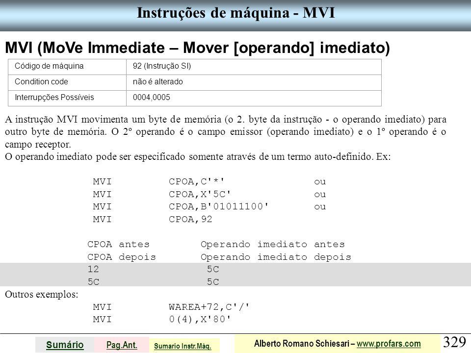Instruções de máquina - MVI
