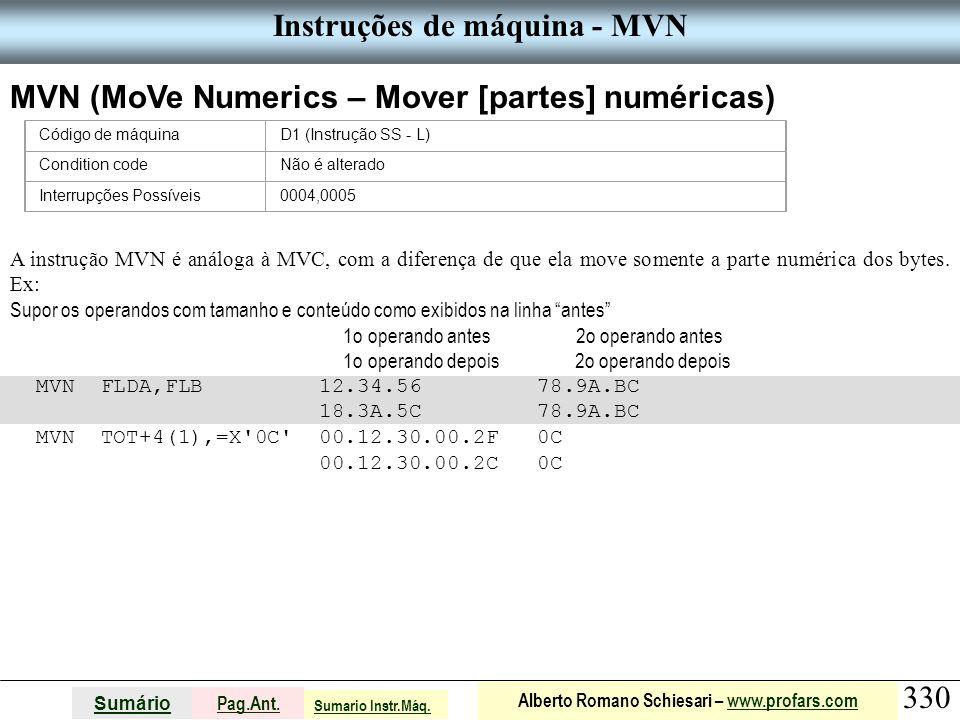 Instruções de máquina - MVN