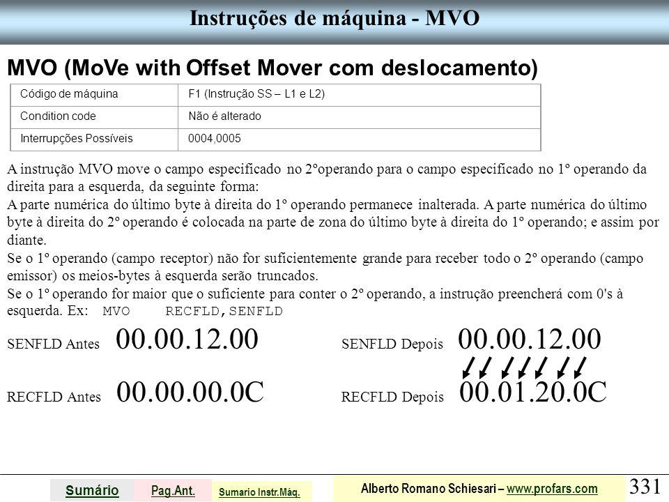 Instruções de máquina - MVO