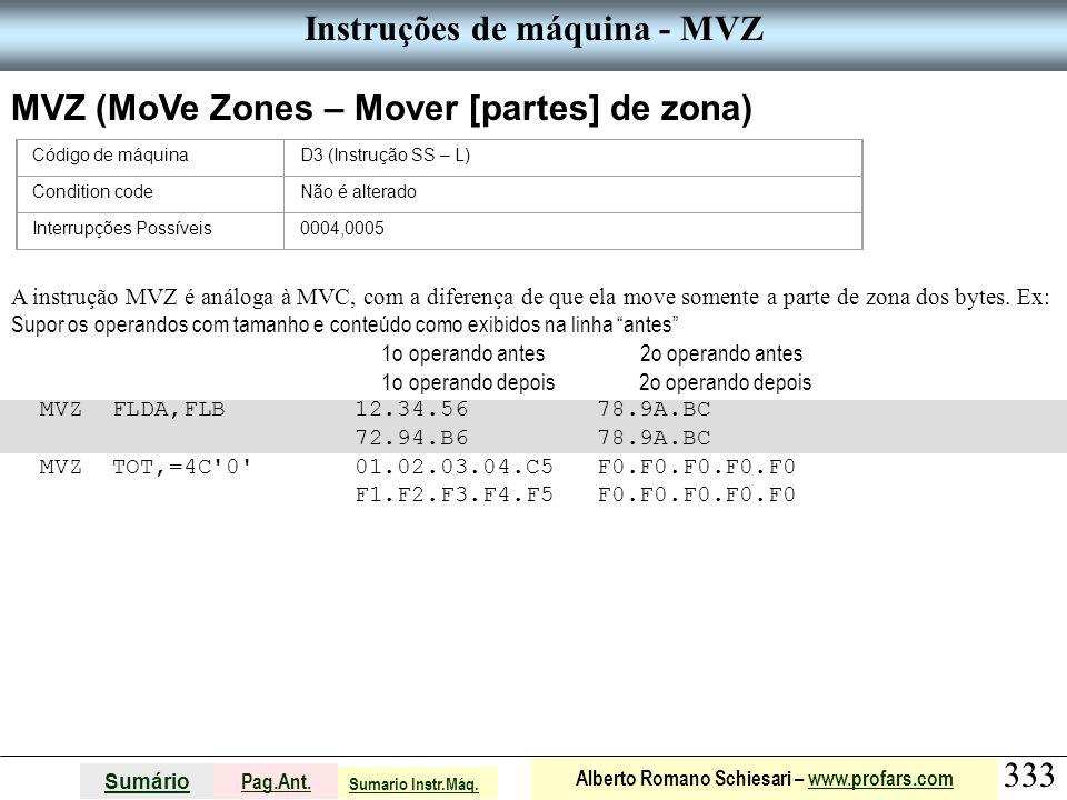 Instruções de máquina - MVZ