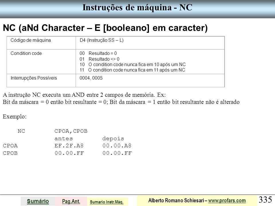 Instruções de máquina - NC