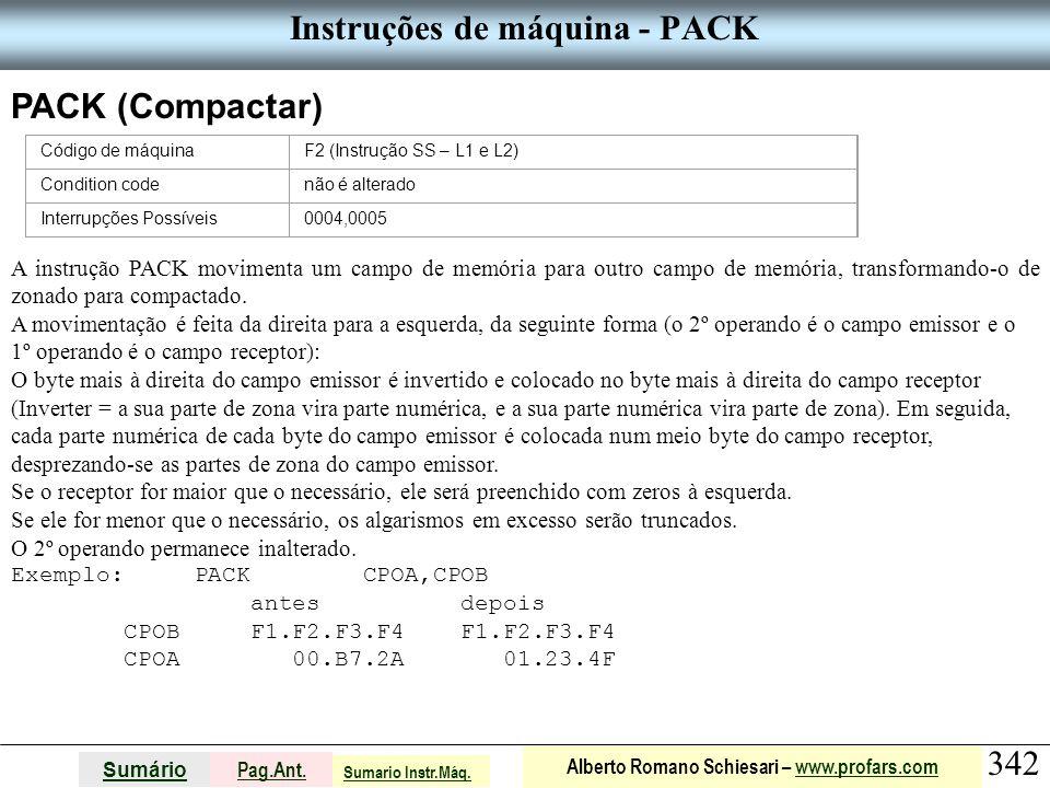 Instruções de máquina - PACK