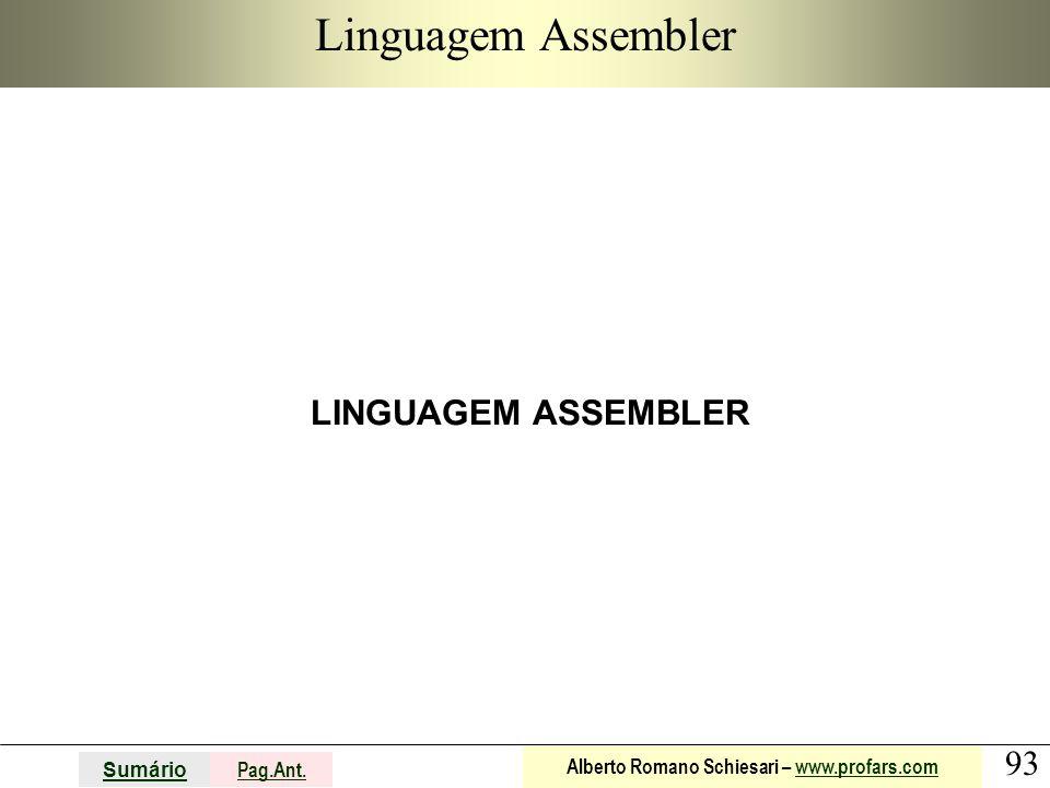Linguagem Assembler LINGUAGEM ASSEMBLER