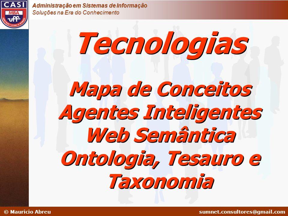 Mapa de Conceitos Agentes Inteligentes Ontologia, Tesauro e Taxonomia