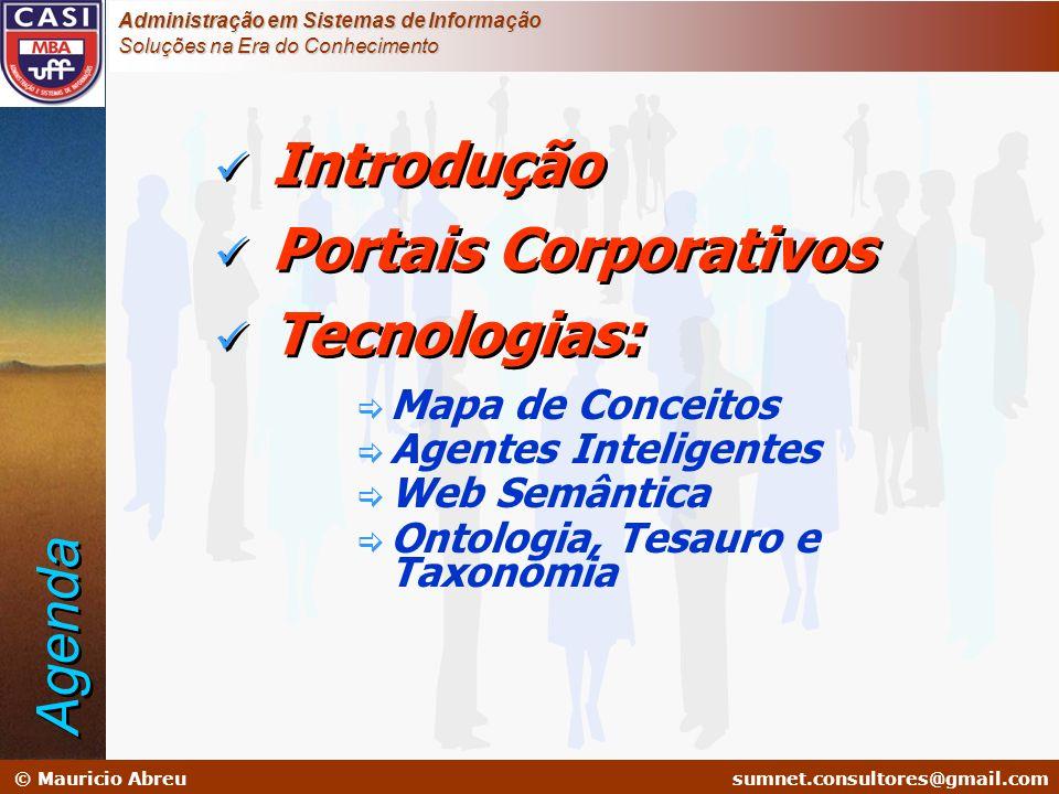 Introdução Portais Corporativos Tecnologias: Agenda Mapa de Conceitos