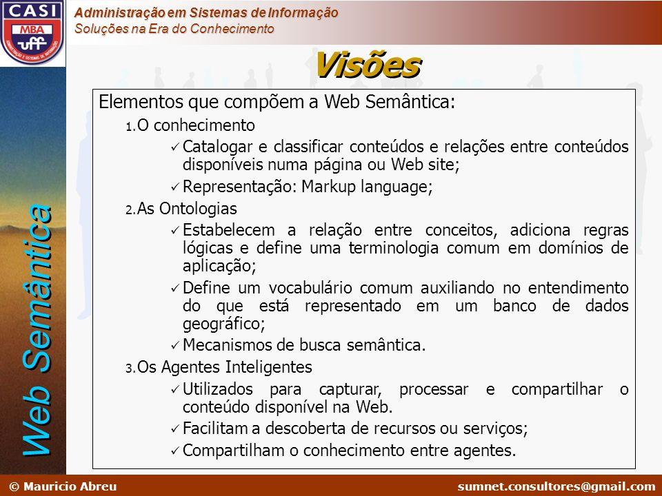 Web Semântica Visões Elementos que compõem a Web Semântica:
