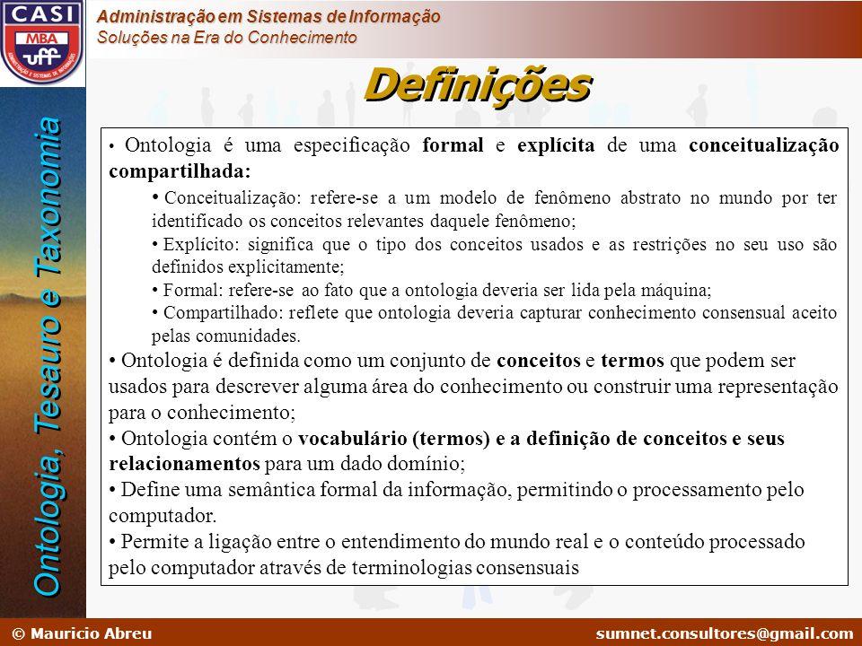 Definições Ontologia, Tesauro e Taxonomia