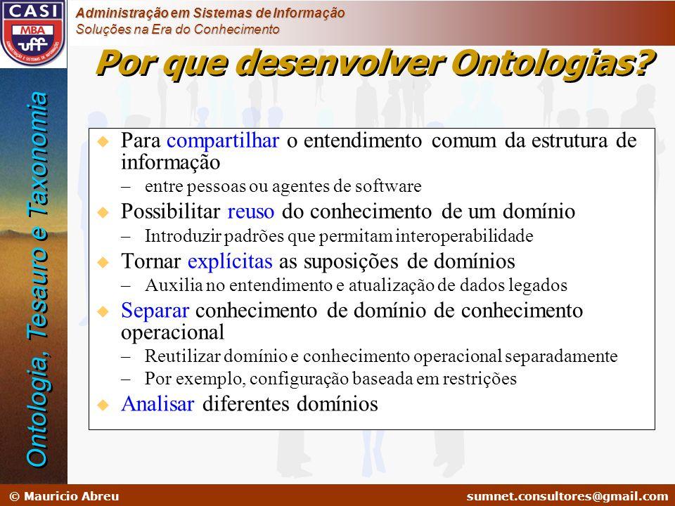 Por que desenvolver Ontologias