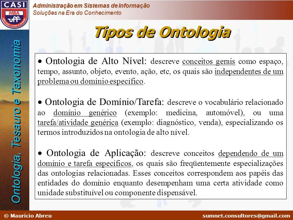 Tipos de Ontologia Ontologia, Tesauro e Taxonomia