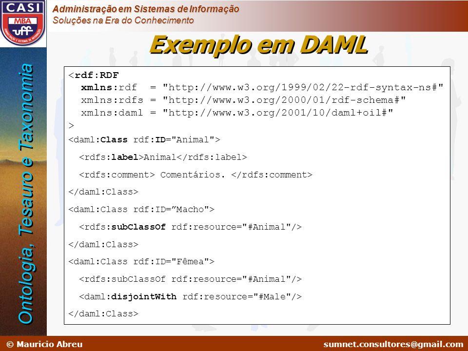 Exemplo em DAML Ontologia, Tesauro e Taxonomia <rdf:RDF