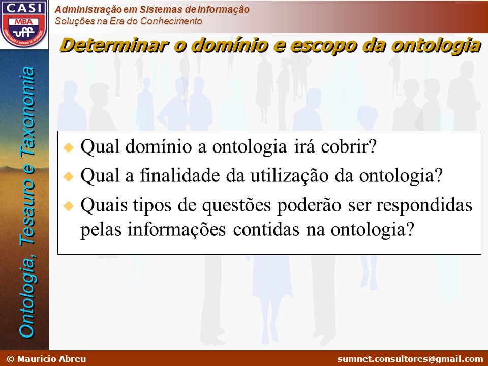 Determinar o domínio e escopo da ontologia