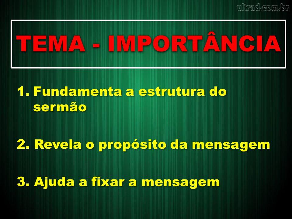 TEMA - IMPORTÂNCIA Fundamenta a estrutura do sermão