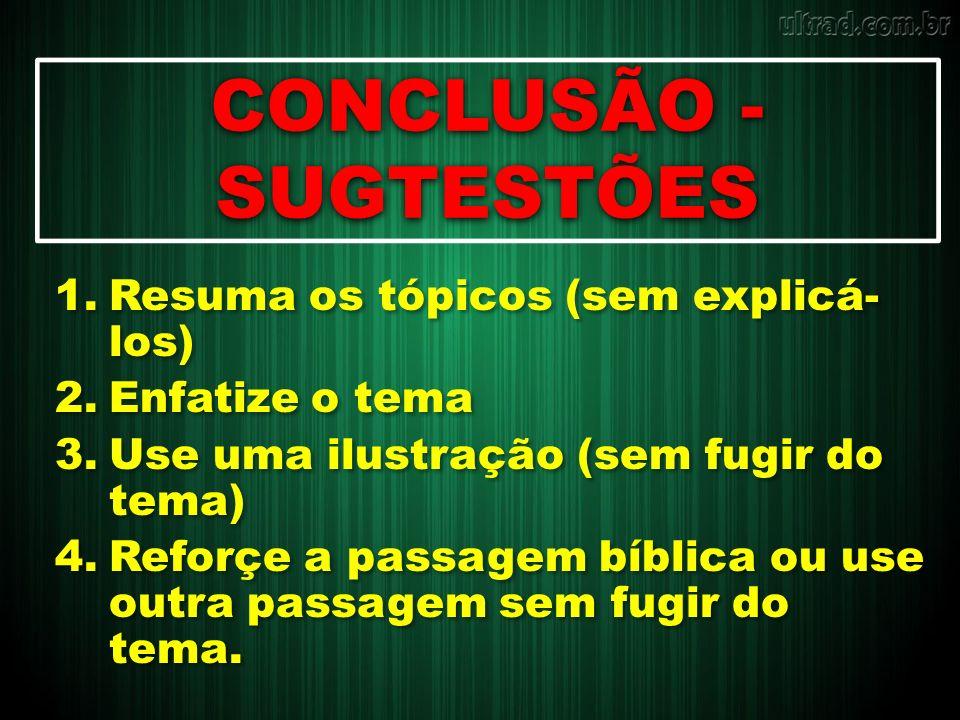 CONCLUSÃO - SUGTESTÕES