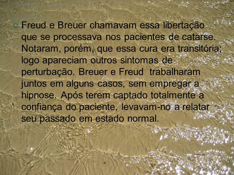 Freud e Breuer chamavam essa libertação que se processava nos pacientes de catarse.